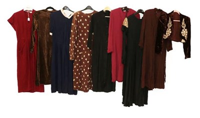 Lot 2072 - Circa 1940s and Later Ladies' Crepe and Other Dresses, comprising a brown woven long sleeved dress