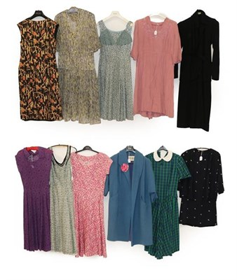 Lot 2079 - Circa 1940 and Later Ladies' Costume, comprising a pink floral short sleeved day dress with...