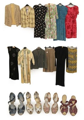 Lot 2080 - Circa 1940 and Later Ladies' Clothing, comprising a black short sleeve dress printed with lambs...