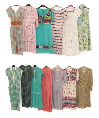 Lot 2082 - Circa 1950 and Later Ladies' Printed Cotton Day Dresses, comprising a Horrockses Fashions strapless