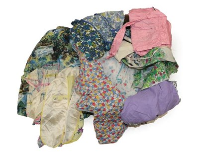 Lot 2083 - Assorted 1950 and Later Printed Cotton and Other Fabric Aprons, comprising embroidered...