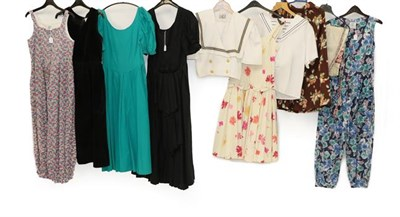 Lot 2087 - Circa 1970/80 Ladies' Costume Mainly Laura Ashley, including a cotton blue floral sleeveless...