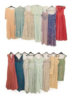 Lot 2088 - Assorted Circa 1950 and Later Evening Dresses, comprising a peach lace mounted dress with...