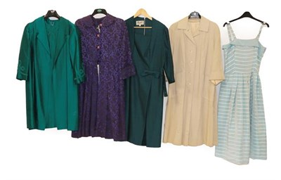 Lot 2089 - Circa 1950/60 Cocktail and Other Dresses, comprising a Gileric floral short sleeve dress with...