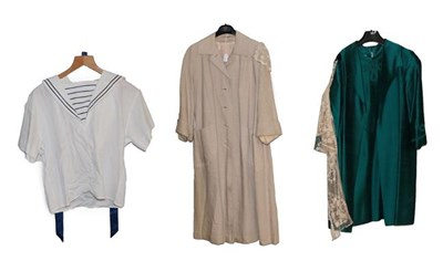 Lot 2090 - Circa 1960 and Later Occasion Wear, comprising a Romney Model green silk type two piece outfit with