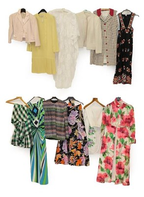 Lot 2092 - Assorted Circa 1960-70 Ladie's Costume, comprising a long sleeved shirt dress in a sheer fabric...