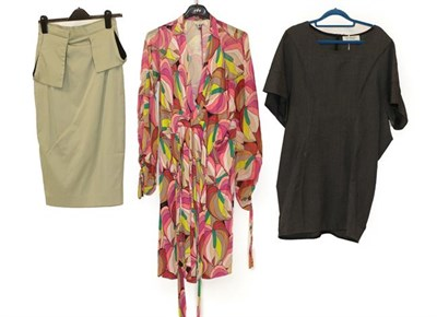 Lot 2095 - Issa London Pink Psychedelic Coloured Dress, with long sleeves, ribbon ties, drawstring cuffs (size