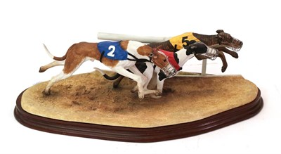 Lot 5 - Border Fine Arts 'A Night at the Dogs' (Greyhounds), model No. B0905 by Margaret Turner,...