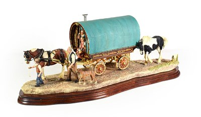 Lot 11 - Border Fine Arts 'Arriving at Appleby Fair' (Bow Top Wagon and Family), model No. B0402 by Ray...