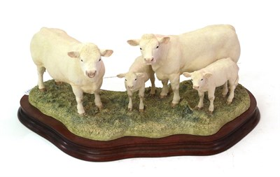 Lot 22 - Border Fine Arts 'Charolais Family Group', model No.  B0184 by Kirsty Armstrong, limited...