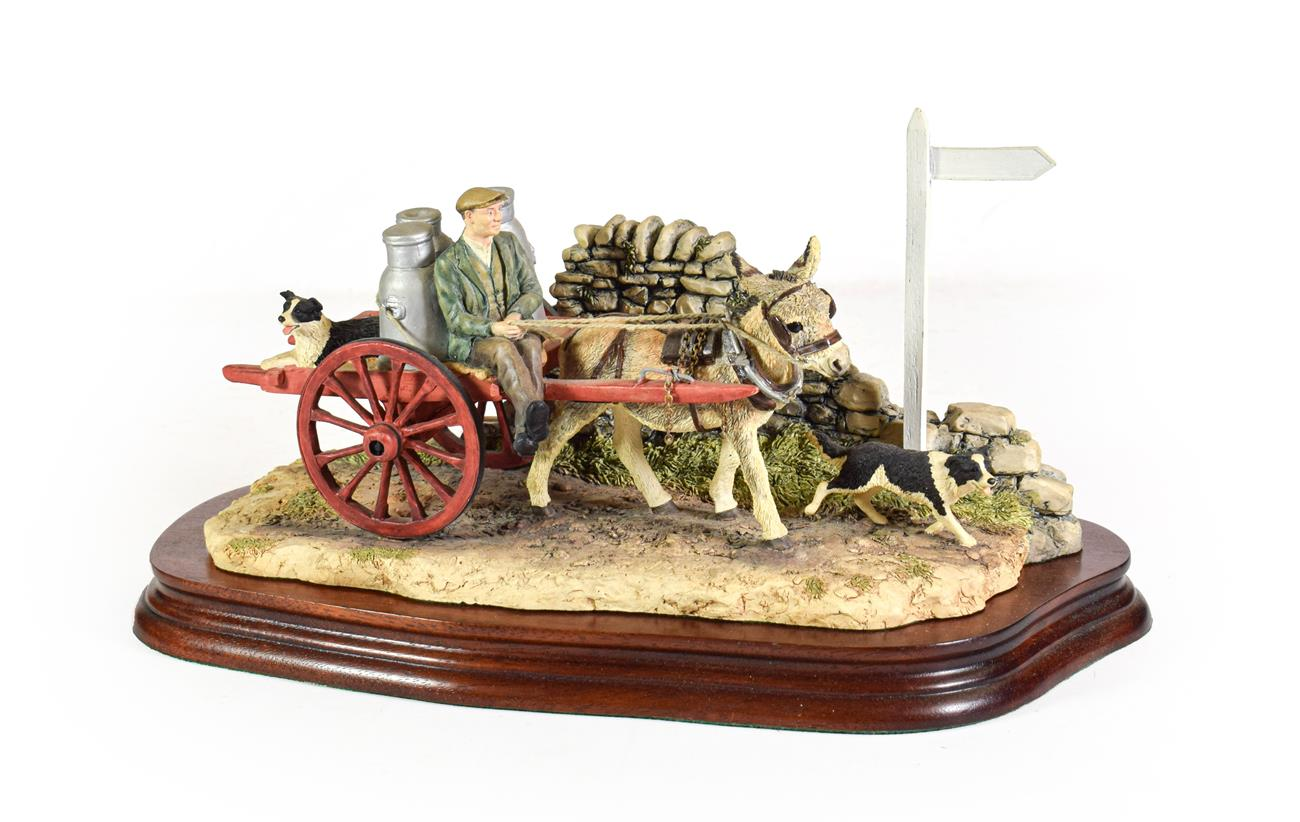 Lot 28 - Border Fine Arts 'Delivering the Milk' (Donkey Cart), model No. AG01 by Ray Ayres, limited...