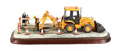 Lot 30 - Border Fine Arts 'Essential Repairs' (Workman with JCB back hoe), model No. B0652 by Ray Ayres,...