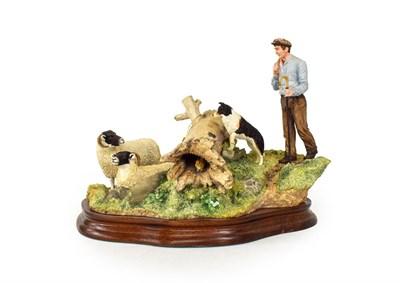 Lot 45 - Border Fine Arts 'Hollow Hide Away' (Sheep hiding from farmer and sheep dog), model No. B1174...