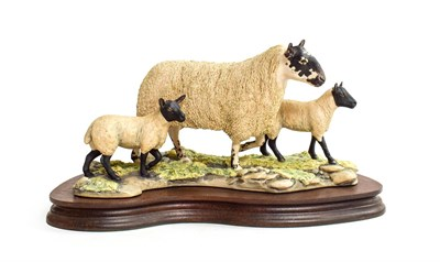 Lot 59 - Border Fine Arts 'Mule Ewe And Lambs', model No. EG03 by Mairi Laing Hunt, limited edition 285/1500