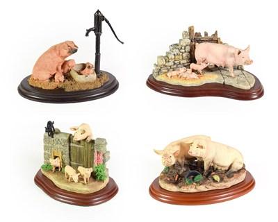 Lot 63 - Border Fine Arts Pig Models Comprising; 'Venturing Out' model No. A22942, signed to felt 'Ray Ayres