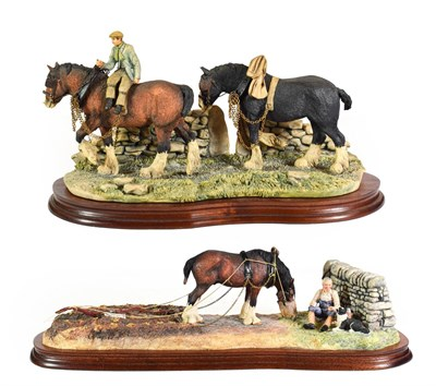 Lot 64 - Border Fine Arts 'Ploughman's Lunch' (Grey Shire, Farmer and Collie), model No. B0990B by Anne...
