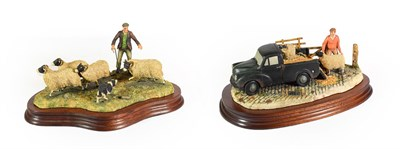 Lot 69 - Border Fine Arts 'Shedding' (Shepard, Collie and Sheep), model No. L113  by Ray Ayres, limited...