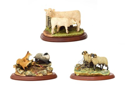 Lot 76 - Border Fine Arts Studio Figure Groups Comrprising: 'Bolted', model No. A1017 and 'Charolais Cow and