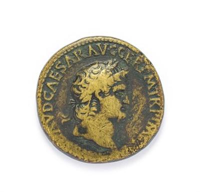 Lot 4004 - Ancient Rome, Nero (54 - 58 A.D.), Brass Sestertius. Lugdunum (Lyon) mint, 65 A.D. 27.34g,...
