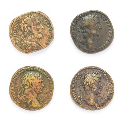 Lot 4006 - Ancient Rome, 4 x Brass Sestertii Of The ''Adoptive Emperors'' consisting of: Trajan (98 - 117...
