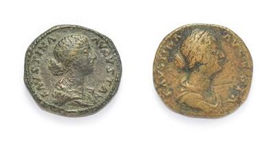 Lot 4008 - Ancient Rome, Faustina Junior (Wife of Marcus Aurelius 161 - 175 A.D.), Brass Sestertius....