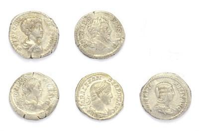 Lot 4009 - Ancient Rome, 5 x''Severan Dynasty'' Silver Denarii consisting of: Septimius Severus silver...