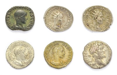 Lot 4010 - Ancient Rome, A Miscellany of 6 x Coins consisting of: Septimius Severus (193 - 211 A.D) silver...