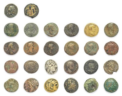 Lot 4013 - Ancient Rome, Research Group. A Miscellany of 15 x Base Metal Coins including a brass sestertius of