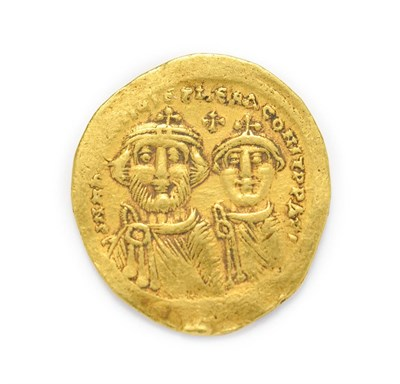 Lot 4016 - Byzantine, Heraclius, with Heraclius Constantine (610 - 641 A.D.), Gold Solidus. 4.45g, 22.9mm, 6h.