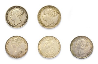 Lot 4024 - Victoria (1837 - 1901), 5 x Silver Coins consisting of: 1849 ''godless'' florin. Obv: Obv:...