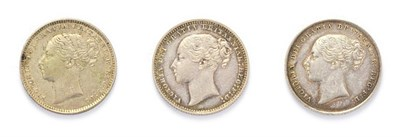 Lot 4025 - Victoria (1837 - 1901) 3 x ''Young Head'' Shillings consisting of:  1852 shilling. Type A3....