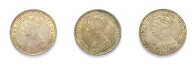 Lot 4026 - Victoria (1837 - 1901), 3 x 'Gothic' Florins consisting of: 1852 florin. Obv: ''Gothic'' bust...