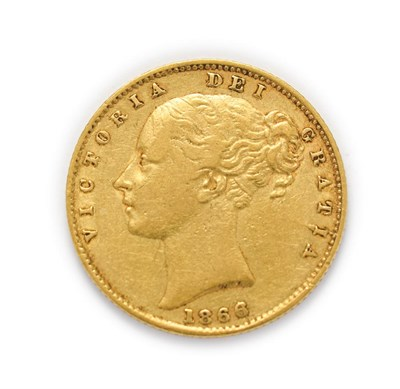 Lot 4027 - Victoria (1837 - 1901), 1866 Sovereign. Obv: Second (large), young portrait of Victoria left,...