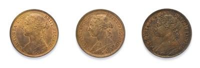 Lot 4030 - Victoria (1837 - 1901), 3 x '' Bun Head'' Bronze Coins consisting of: 1887 Penny. ''Bun head''...
