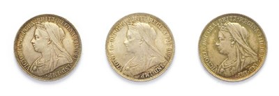 Lot 4037 - Victoria (1837 - 1901), 3 x 'Veiled Head' Silver Coins consisting of: 1901 florin. Obv: Old, veiled
