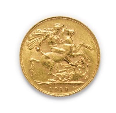 Lot 4039 - Edward VII (1901 - 1910), 1910 Sovereign. Obv: Bare head of Edward VII right, DeS. below truncation