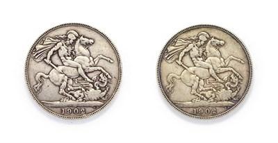 Lot 4041 - Edward VII (1901 - 1910), 2 x 1902 Crowns. Obvs: Bare-headed portrait of Edward VII right, DES...