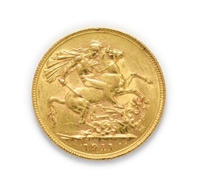 Lot 4046 - George V (1910 - 1936), 1911 Sovereign. Obv: Bare head of George V left, B.M. below truncation...