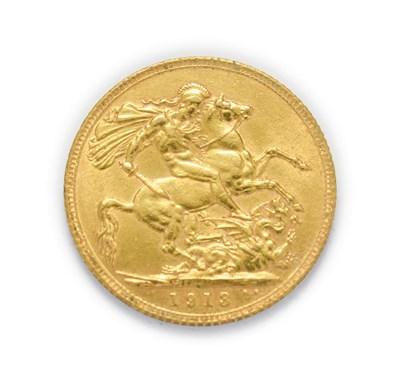 Lot 4047 - George V (1910 - 1936), 1913 Sovereign. Obv: Bare head of George V left, B.M. below truncation...