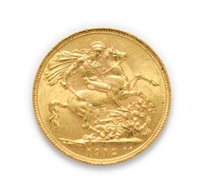 Lot 4048 - George V (1910 - 1936), 1912 Sovereign. Obv: Bare head of George V left, B.M. below truncation...