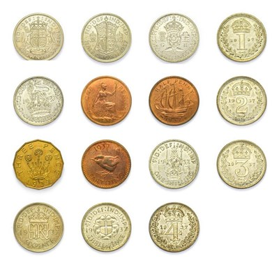 Lot 4055 - George VI (1936 - 1952), 1937 ''Coronation'' 15-Coin Proof Set. Comprised of crown, halfcrown,...
