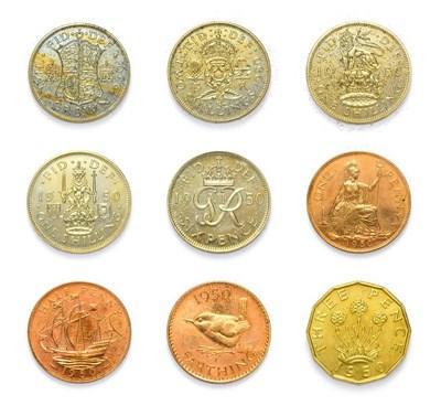 Lot 4056 - George VI (1936 - 1952), 1950 ''Mid-Century'' 9-Coin Proof Set. Comprised of halfcrown, florin,...