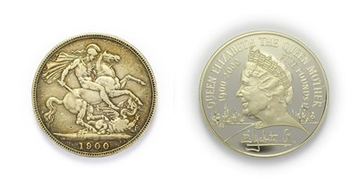 Lot 4064 - Great Britain, 1900 & 2000 Silver Crowns consisting of: Victoria, 1900 crown. Obv: Older,...