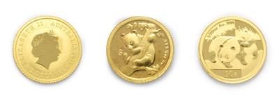 Lot 4068 - China, 2 x Gold Panda Coins consisting of: 1996 gold 5 yuan. 1.55g of 24ct (.999 gold). Obv: Temple
