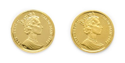 Lot 4071 - Isle of Man, 2 x 1994 Gold  1/20 Angel. Each coin 1.55g of 24ct (.999) gold. Obv: Portrait of...