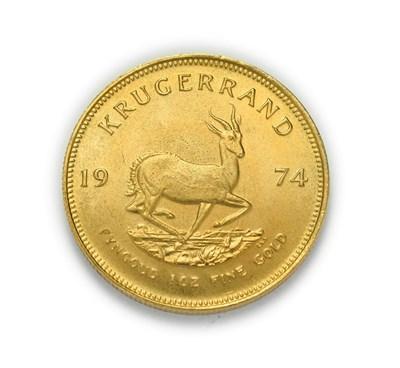 Lot 4076 - South Africa, 1974 Krugerrand. 1 oz. 24ct (.999). Obv: Bust of Paul Kruger left. Rev: Springbok, 19