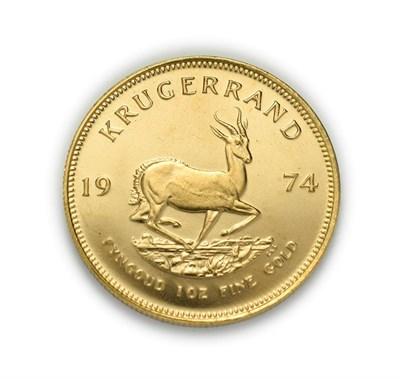 Lot 4078 - South Africa, 1974 Krugerrand. 1 oz. 24ct (.999). Obv: Bust of Paul Kruger left. Rev: Springbok, 19