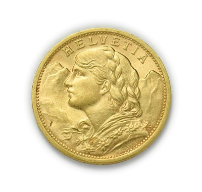 Lot 4081 - Switzerland, 1908 B Twenty Francs. 6.45g of .900 gold. Bern mint. Obv: Bust of young woman from...