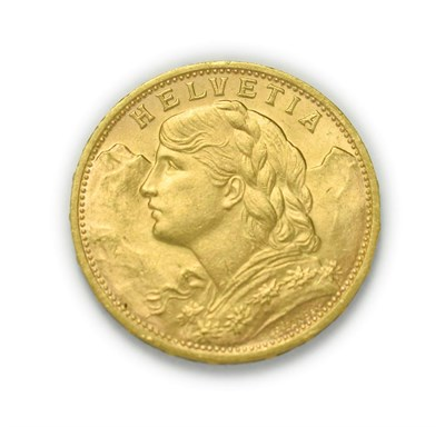 Lot 4082 - Switzerland, 1930 B Twenty Francs. 6.45g of .900 gold. Bern mint. Obv: Bust of young woman from...