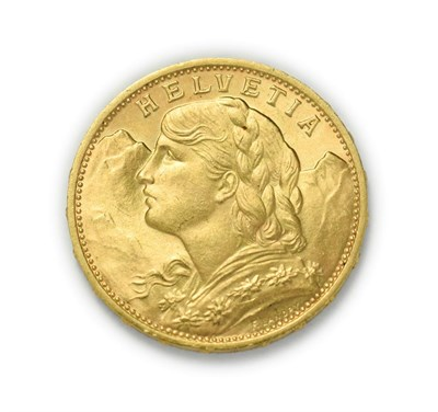 Lot 4083 - Switzerland, 1930 B Twenty Francs. 6.45g of .900 gold. Bern mint. Obv: Bust of young woman from...